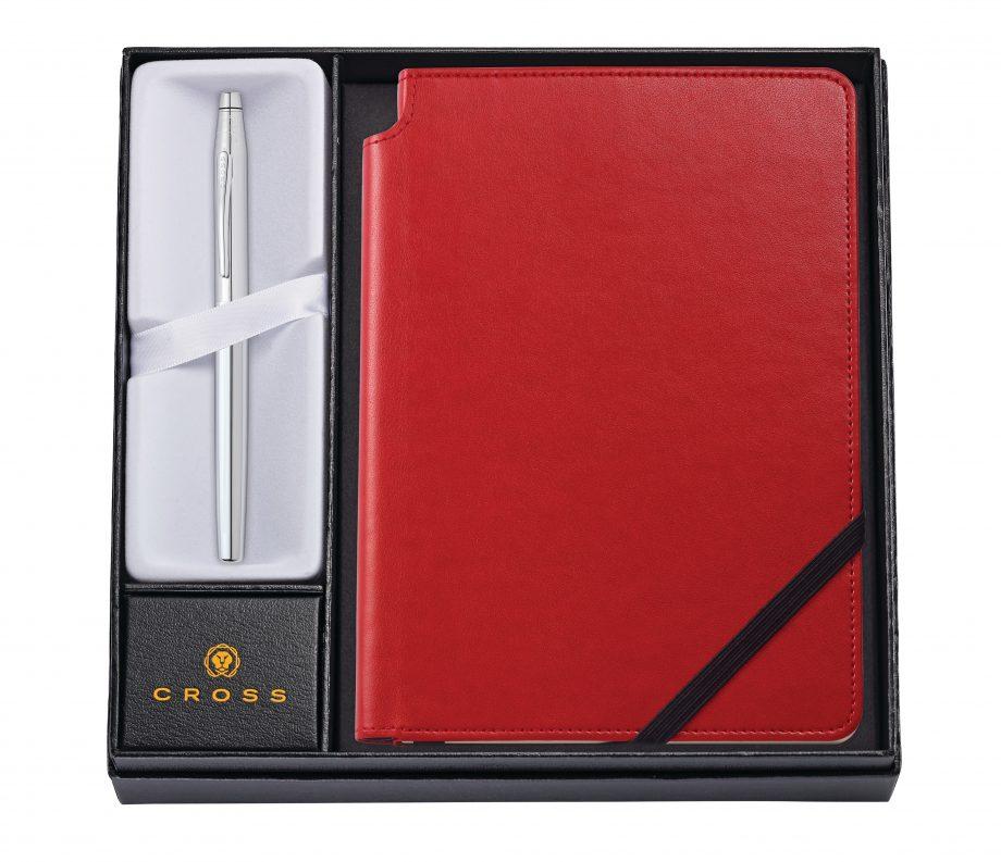 Classic Century Chrome Rollerball Pen with Medium Crimson Journal