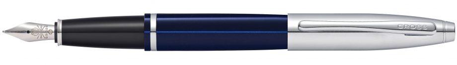 Calais Chrome and Blue Lacquer Fountain Pen