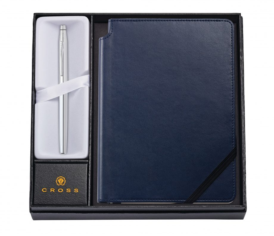 Classic Century Chrome Rollerball Pen with Medium Midnight Blue Journal