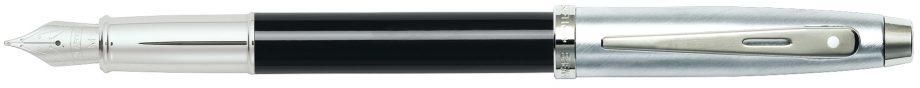 Sheaffer 100 Black Chrome Fountain Pen w/ Medium Nib
