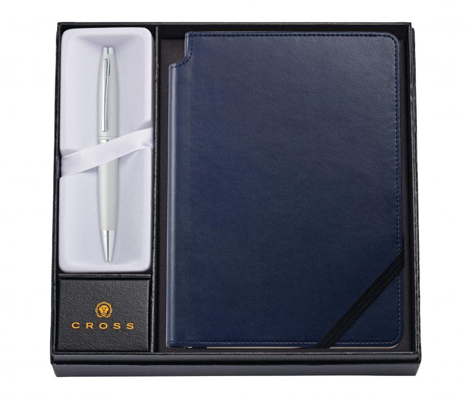 Calais Satin Chrome Ballpoint Pen with Medium Midnight Blue Journal