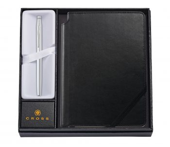 Classic Century Chrome Rollerball Pen with Medium Classic Black Journal