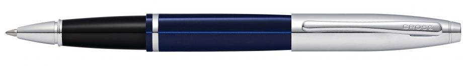 Calais Chrome & Blue Lacquer Rollerball Pen