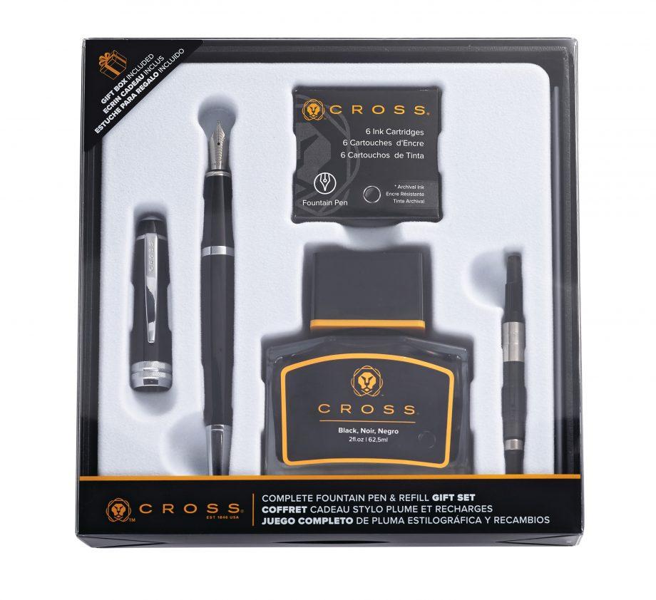 Bailey Black Lacquer Fountain Pen Gift Set