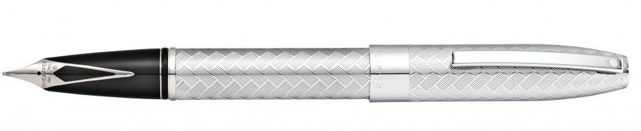 Sheaffer® Legacy Polished Chrome Medium Nib Fountain Pen with Engraved Chevron Pattern