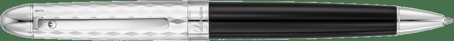 Precieux Black Lacquer and Diamond Cut Wave Pattern Silver